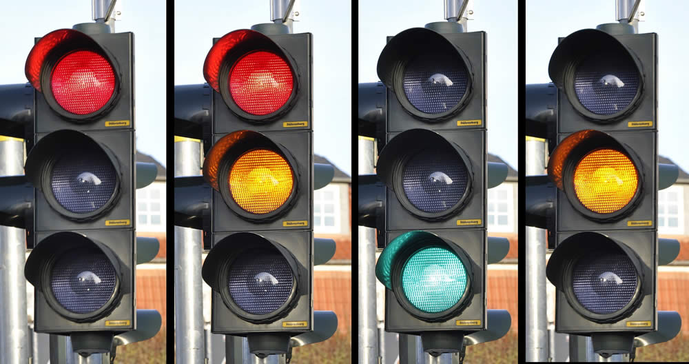 traffic lights and stop signs